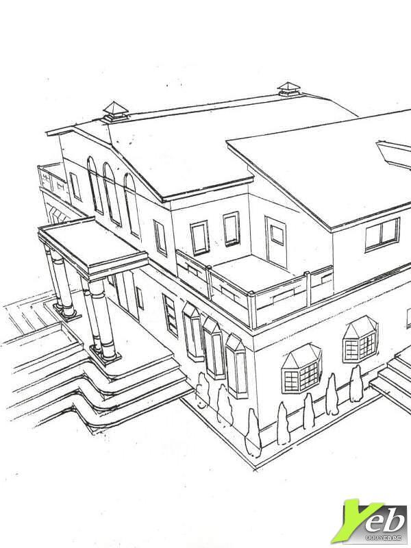coloriage maison de luxe dessin gratuit imprimer. Black Bedroom Furniture Sets. Home Design Ideas