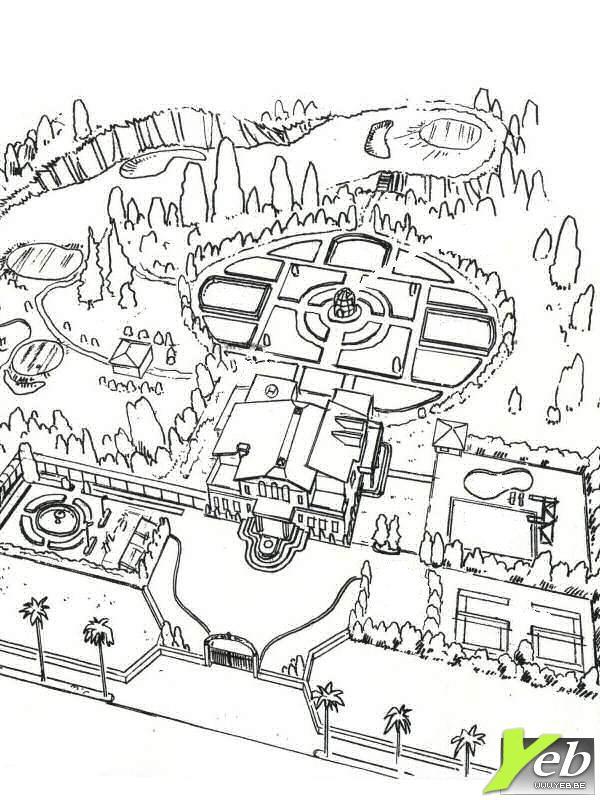 coloriage maison de luxe avec un grand jardin dessin. Black Bedroom Furniture Sets. Home Design Ideas