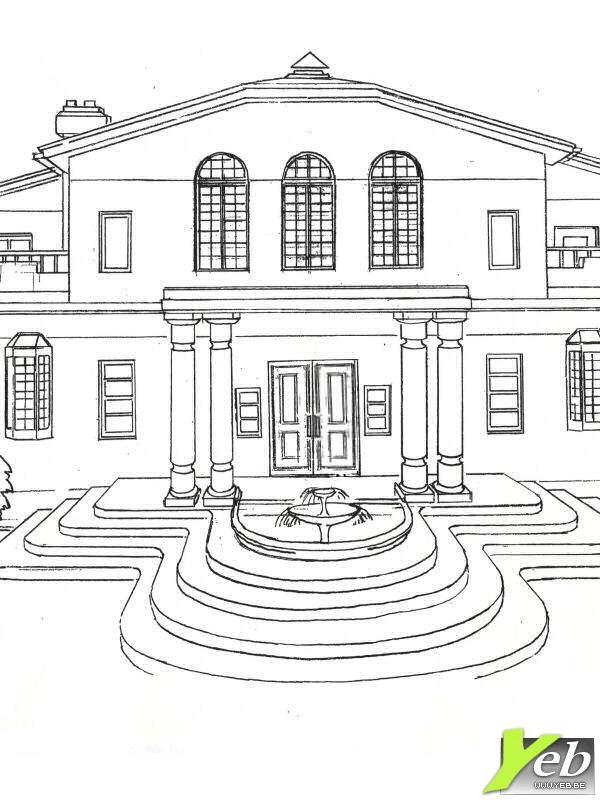 coloriage maison de luxe avec une fa ade splendide