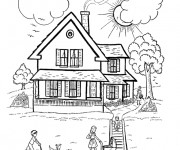 Coloriage Maison en bois