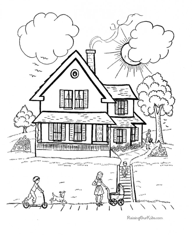 Coloriage et dessins gratuits Maison en bois à imprimer