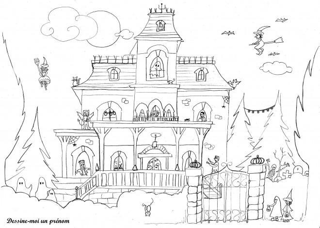 Coloriage et dessins gratuits Maison en Halloween à imprimer