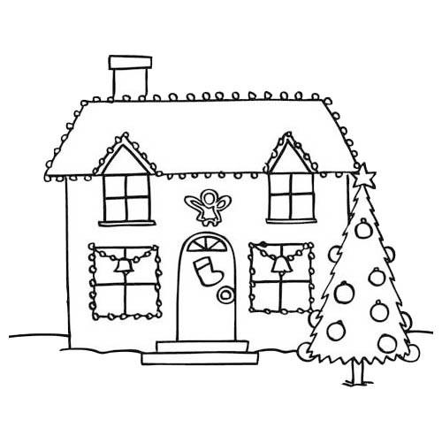 Coloriage maison et la d coration noel dessin gratuit imprimer - Deco de noel a imprimer gratuit ...