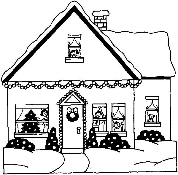 Coloriage Maison Moderne En Noel Dessin Gratuit à Imprimer