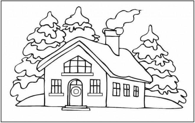 Coloriage Maison sous La Neige dessin gratuit à imprimer