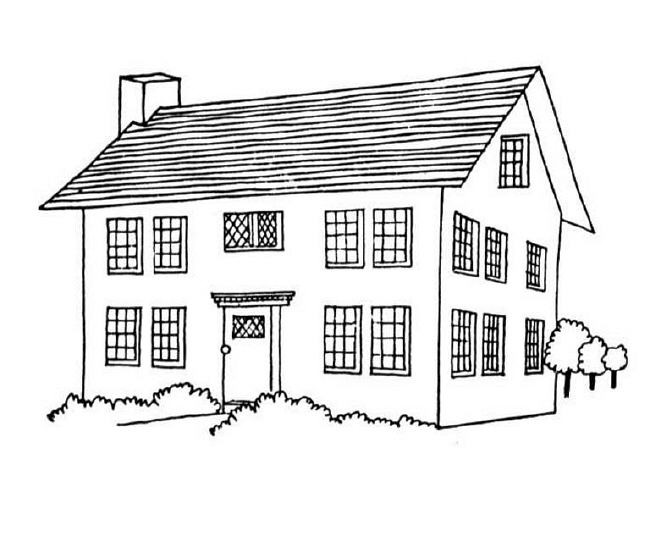 Coloriage et dessins gratuits Paysage d'une Maison à imprimer