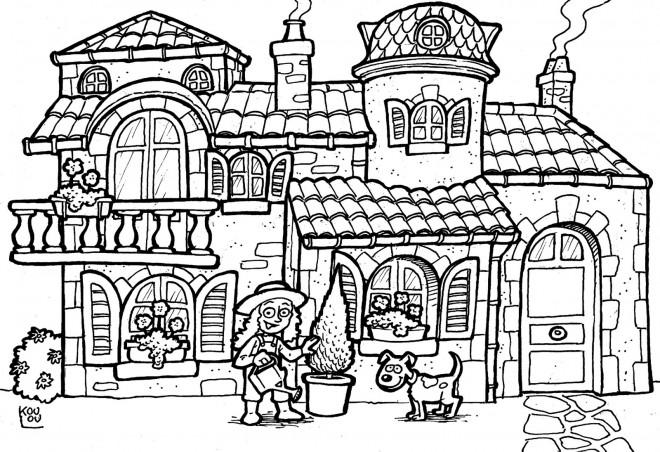 Coloriage et dessins gratuits Une Maison adorable à imprimer