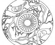 Coloriage et dessins gratuit Mandala Animaux 15 à imprimer