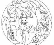 Coloriage et dessins gratuit Mandala animaux jungle à imprimer