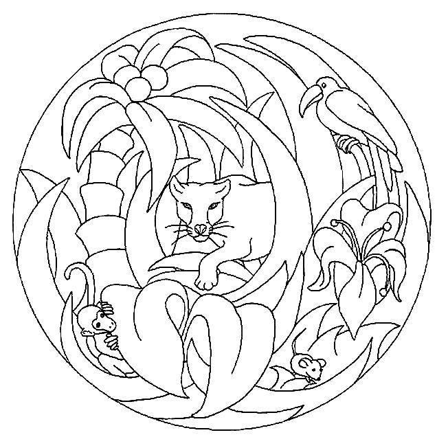 Coloriage et dessins gratuits Mandala animaux jungle à imprimer