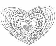 Coloriage et dessins gratuit Mandala coeur et amour à imprimer