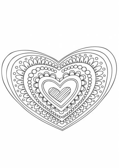 Coloriage De Mandala Damour A Imprimer.Coloriage Mandala Coeur Et Amour Dessin Gratuit A Imprimer
