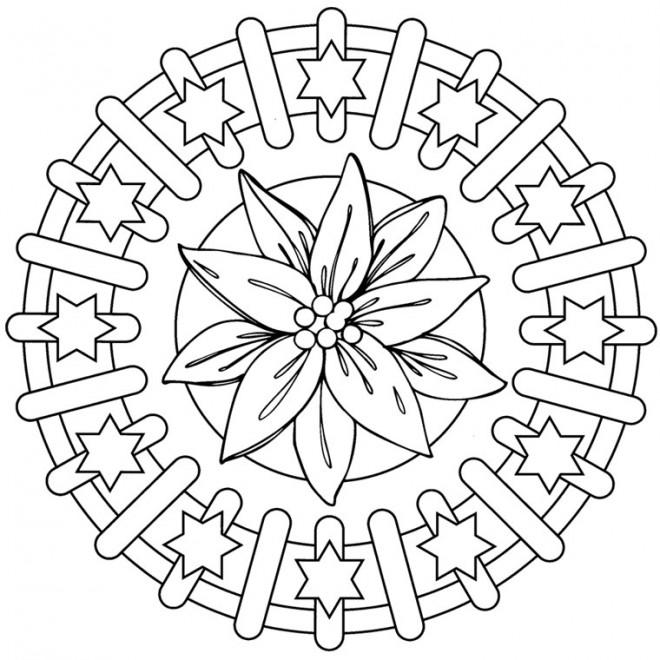 Coloriage et dessins gratuits Mandala Fleur à imprimer