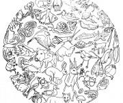 Coloriage et dessins gratuit Animaux mandala à imprimer