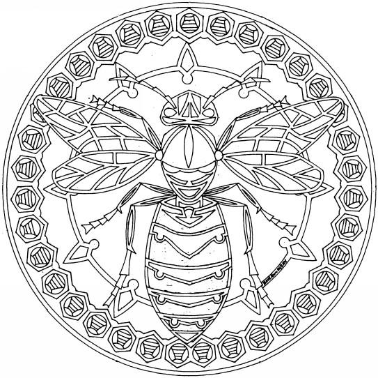 Coloriage et dessins gratuits Mandala Abeille en Ligne à imprimer