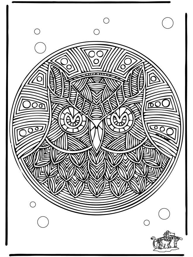 Coloriage et dessins gratuits Mandala adulte hibou difficile à imprimer