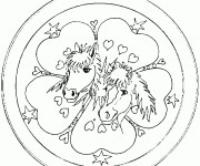 Coloriage Mandala Amour d'animaux
