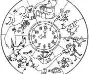 Coloriage et dessins gratuit Mandala Animaux Afrique à imprimer