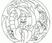 Coloriage et dessins gratuit Mandala Animaux Afrique facile à imprimer