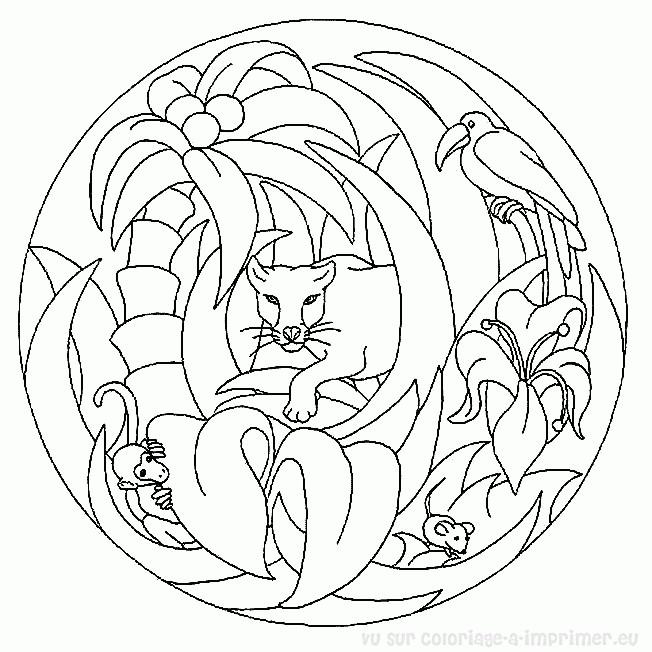 Coloriage et dessins gratuits Mandala Animaux Afrique facile à imprimer
