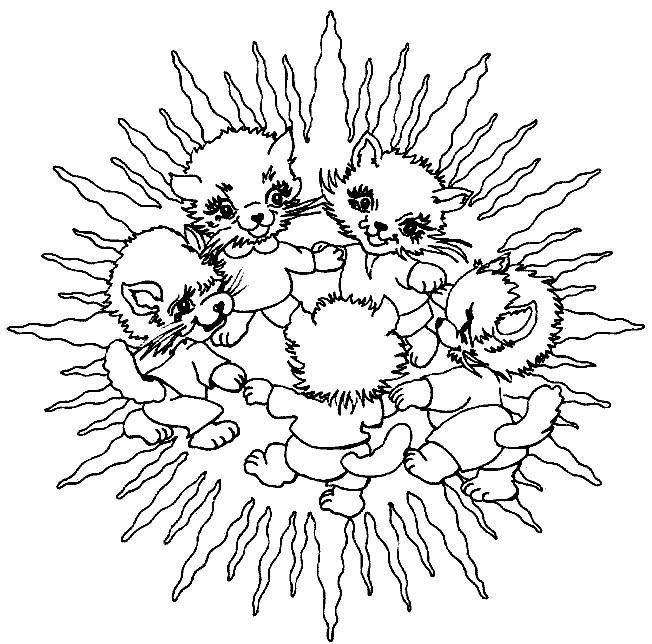 Coloriage et dessins gratuits Mandala Animaux en Famille à imprimer