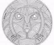 Coloriage et dessins gratuit Mandala Animaux Lion en Ligne à imprimer