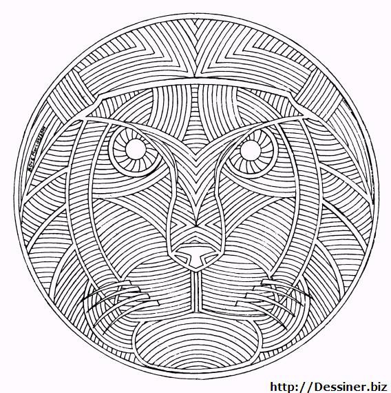 Coloriage Mandala Animaux Lion en Ligne dessin gratuit à imprimer