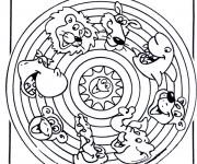 Coloriage et dessins gratuit Mandala Animaux pour enfant à imprimer