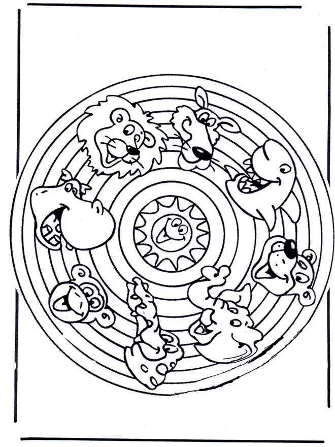 Coloriage et dessins gratuits Mandala Animaux pour enfant à imprimer