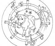 Coloriage et dessins gratuit Mandala Boeuf facile à imprimer