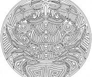 Coloriage et dessins gratuit Mandala Cancer de Mer à imprimer