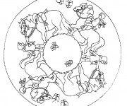 Coloriage Mandala Cheval de Ferme