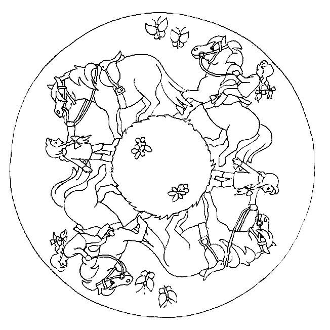 Coloriage et dessins gratuits Mandala Cheval de Ferme à imprimer