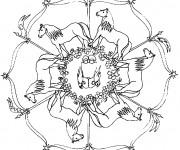 Coloriage Mandala Cheval en noir