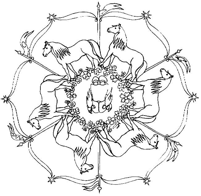 Coloriage et dessins gratuits Mandala Cheval en noir à imprimer
