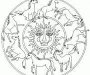 Coloriage et dessins gratuit Mandala Chevaux maternelle à imprimer