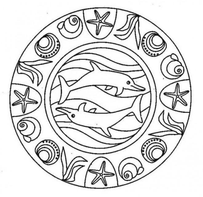 Coloriage et dessins gratuits Mandala Dauphins facile à imprimer