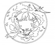 Coloriage Mandala Dinosaures