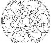 Coloriage Mandala Éléphant destressant
