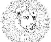 Coloriage et dessins gratuit Mandala Lion à découper à imprimer