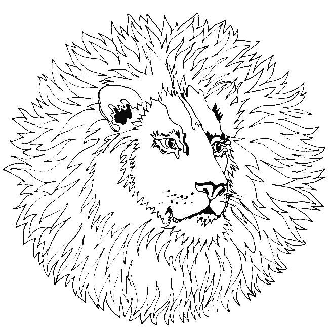 Coloriage et dessins gratuits Mandala Lion à découper à imprimer