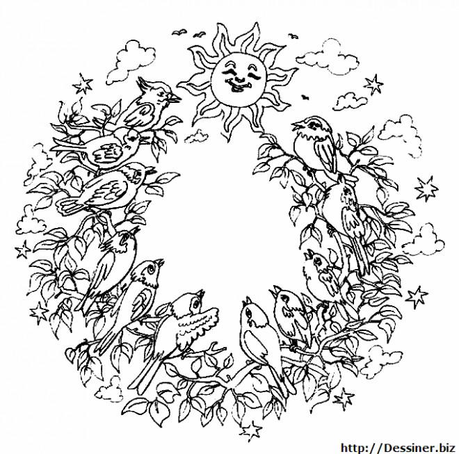 Coloriage et dessins gratuits Mandala Nature à imprimer