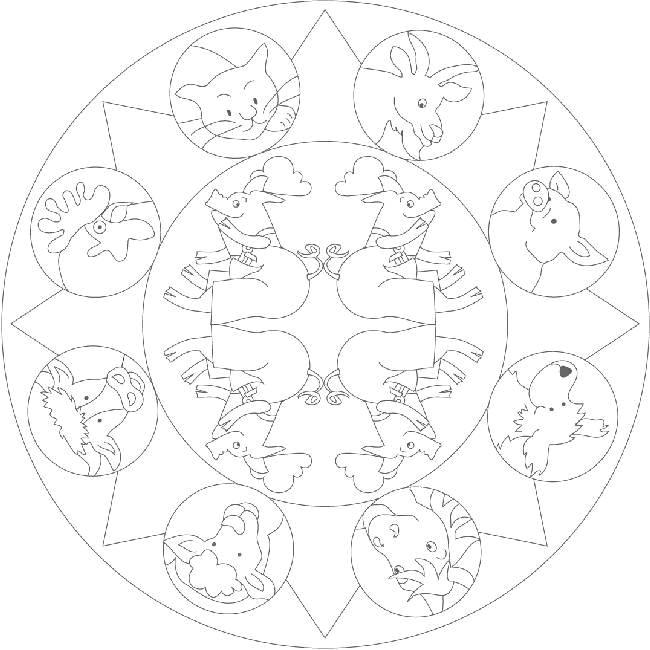 Coloriage et dessins gratuits Mandalas Animaux de La Ferme à imprimer