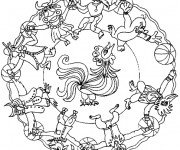Coloriage Mandalas Animaux magique