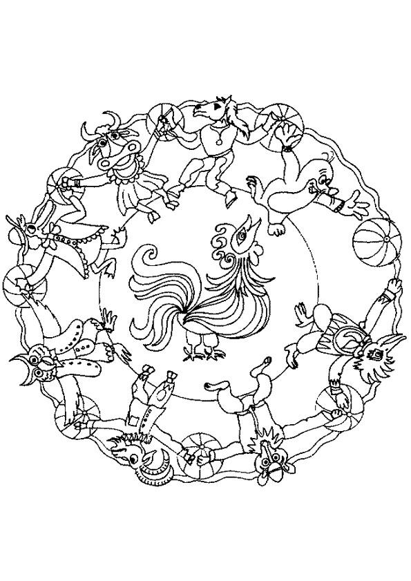 Coloriage et dessins gratuits Mandalas Animaux magique à imprimer