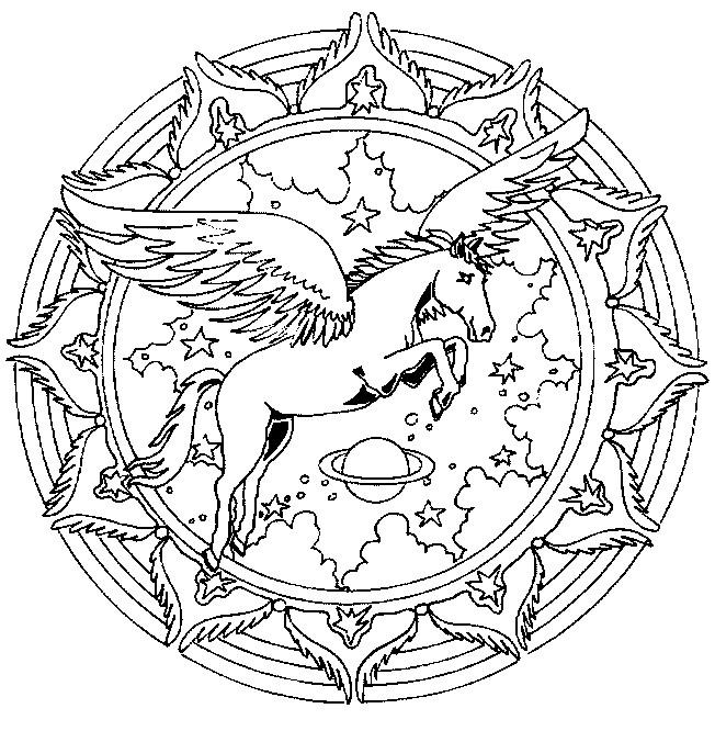 Coloriage et dessins gratuits Mandalas cheval avec ailes à imprimer