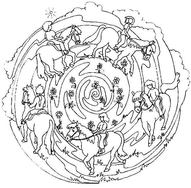 Coloriage et dessins gratuits Mandalas Chevaux et Cavaliers à imprimer