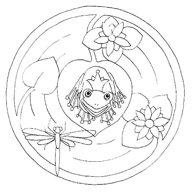 Coloriage et dessins gratuits Mandalas Le Prince  Grenouille à imprimer