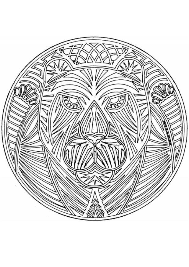 Coloriage et dessins gratuits Mandalas Ours en ligne à imprimer