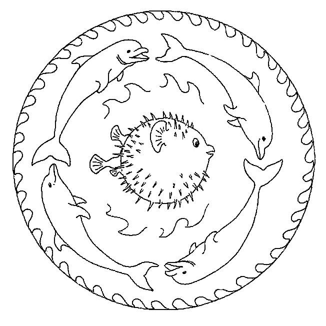 Coloriage et dessins gratuits Mandalas Poissons à colorier à imprimer